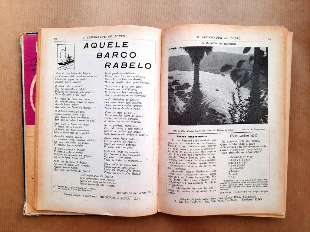 Almanaque do porto 1954 - artigo sobre barcos rabelos